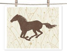 Western Galloping Horse Silhouette Art Print / Choose your Colors & Background Pattern / 8x10.