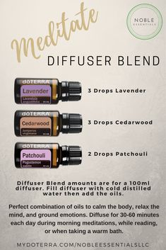 Meditate Diffuser Blend from Noble Essentials LLC