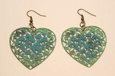 Filigree Heart Shaped Earrings Shabby Patina Turquoise/ by zima, $15.00 :: https://www.etsy.com/listing/175559555/filigree-heart-shaped-earrings-shabby