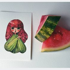 Day 2: a chill purple cauliflower and an affectionate watermelon Funny enough, that is when I couldn't find a watermelon that wasn't seedless, so here we have a little dissonance. #illustration #painting #characterdesign #drawing #watercolor