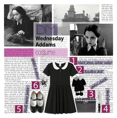 """DIY Wednesday Addams Halloween Costume"" by biancasorana ❤ liked on Polyvore featuring CC SKYE, Zwilling J.A. Henckels, Roberto Cavalli, Monki, Halloween, contest and DIYHalloween"