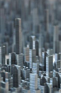Massing model of an urban setting made from....staples.