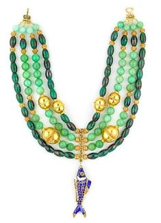 Tony Duquette (American, 1914-1999), 1990s. A chrysocolla, chrysoprase, cloisonne and vermeil necklace, length 17in . Sold for $1,159
