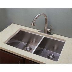 Empire Industries Everest ED3320 Double Bowl Undermount Stainless Steel Kitchen Sink - ED3320