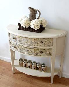 Sold Half Moon Entryway Table Hallway With Drawers Painted Furniture