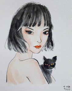 f e a t u r e s by emilywip rosy cheeks // wavy hair // cat eyes
