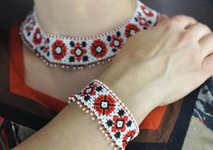 Slavic Jewerly Necklace Collar and Cuff Bracelet Ethno Red poppies