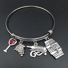 Wine Lover Bangle - Red Wine Glass, Grape, Wine Bottle, Barrel Charms