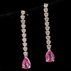Shop 18KW 2ctw Pink Sapph Pear 1ctw Diam Rd Dangl Earrings and other jewelry, art, coins, rugs and real estate at www.aantv.com