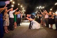Sparkler formal departure after wedding reception. M. Elizabeth Events