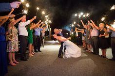 Sparkler formal departure after wedding reception. M. Elizabeth Events