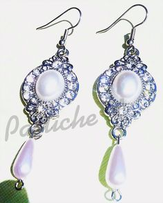 Glass Pearl and Crystal drop earrings bridal by PASTICHEfashion, $35.00