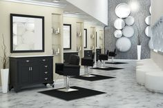 salon designs | Salon Interior Designs on Behance bathroom vanities for stations, mirror wall art, recessed shelving for products