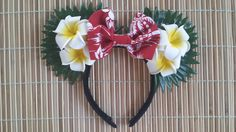 Hawaiian Plumeria with Red Bow Minnie Mouse Ears by AlohaEars