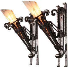 Wrought Iron Art Deco sconces  sc 1 st  Pinterest & Ada Wall Sconce   Wall Sconces Beside Fireplace   Pinterest ...