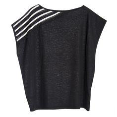 Paychi Guh Cashmere Asymmetrical Stripe Top