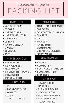 Customizable 2 Week Packing List - Rachel's Crafted Life This is a complete, and customizable, 2 week packing list perfect for helping the common traveler remember everything they'll need for a stress-free trip. Beach Trip Packing, Holiday Packing Lists, Travel Packing Checklist, Travel Bag Essentials, Packing List For Cruise, Packing List For Vacation, Camping Packing, Packing List Mexico, Holiday Essentials List