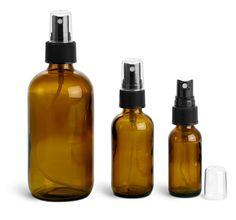 SKS Bottle & Packaging, Glass Bottles, Amber Glass Rounds w/ Black Fine Mist Sprayers