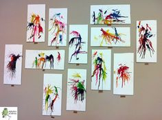 Glue pieces of crayon onto paper with tacky glue. Use a hair dryer to melt the crayons!     — Alphabet Academy North Twos  http://thealphabetacademy.com  #reggio-inspired #crayons #twos