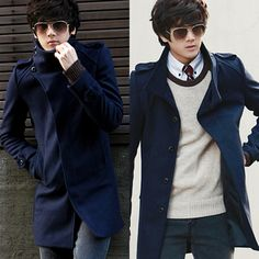>> Click to Buy << Xxxl Black/Blue New 2013 Autumn Winter Collar Woolen Coat Slim Fashion Long Designer Men Windbreaker Overcoat Outerwear D1427 #Affiliate