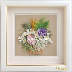 Obrázek - košík s kyticí lučního kvítí * quilling ♥