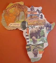 Africa Map - great idea for a geography lesson, to collage a continent map. Geography Activities, Geography For Kids, Geography Lessons, Teaching Geography, World Geography, Continents Activities, 6th Grade Social Studies, Teaching Social Studies, Continents And Oceans