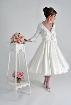 1950s style short wedding dress: Kitty by Lizzie Agnew