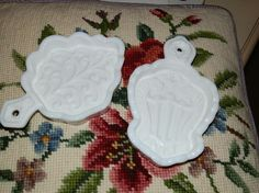 Vintage Milk Glass Spoon Rests Set of 2 Also Wall Decor for