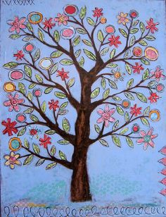 I see a theme here with trees...wonder if there is a deeper meaning there? Mixed Media Painting, Mixed Media Collage, Collage Art, Painted Sticks, New Artists, Naive Art, Tree Art, Artsy Fartsy, Craft Work