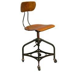 1stdibs | Toledo Style Adjustable Height Swiveling Industrial Chair