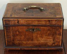 Rare & Early 18th Century Walnut Tea Caddy by B.Crook  c.  1735 England