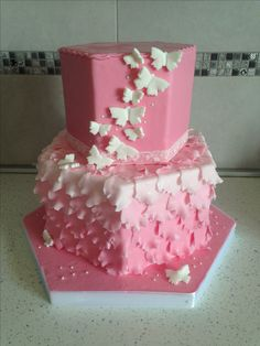Petali ombre cake , butterfly , white &pink