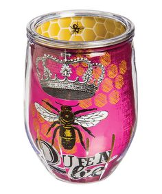 Look what I found on #zulily! Queen Bee Acrylic Stemless Wine Glass #zulilyfinds