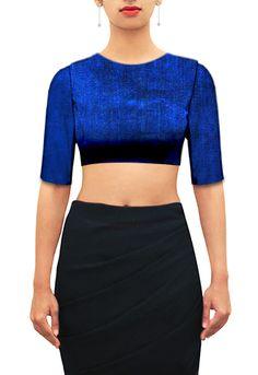 Royal blue raw silk closed U neck blouse with elbow sleeves. Customize further or Design your own now on houseofblouse.com #saree #blouse #sareeblouse #blousedesigns #desi #indianfashion #india #rawsilk #blue