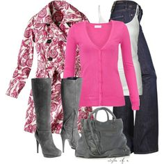 A fashion look from November 2012 featuring vero moda tops, paisley coat and dark blue denim jeans. Browse and shop related looks. Winter Fashion Outfits, Autumn Winter Fashion, Fall Outfits, Casual Outfits, Cute Outfits, Weekend Fashion, Pink Outfits, Holiday Fashion, Winter Style