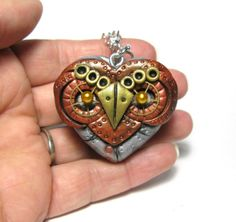 Owl locket heart steampunk industrial cogs gears jewellery necklace pendant via Etsy