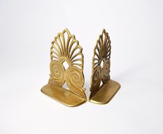 Vintage Brass Art Deco Bookends