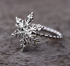 Snowflake Ring Filigree Snowflake Sterling Silver Stacking Ring Winter Jewelry Frozen Birthday (32.00 USD) by MountainMetalcraft