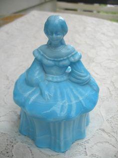 Vintage Powder Jar.........Westmoreland.....Blue Milk Glass......Slag Glass on Etsy, $20.00