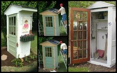 This little shed is a great way to protect your garden tools and recycle some old doors that would otherwise become landfill. You could even store the kids' outdoor toys in it. It was made with four doors as the sides. Isn't it a clever idea? Perfect if you have a small yard and have only a few simple garden tools around. :) Materials: 4 Doors Extra Wood Boards - for foundation and shelving Roof Shingles Screws Nails Wood Coating Paint Hinges Door Knob Hooks Tools: Drill Hammer Paintb...