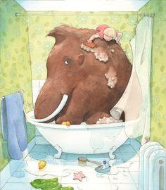 Bathing the mammoth by Quentin Gréban