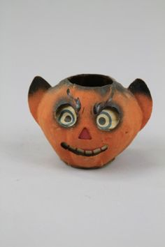 Marked Germany, a grinning paper face, devil ear jack-o-lantern with candle holder inside base. on Nov 2011 Halloween Iii, Retro Halloween, Halloween Books, Halloween Items, Halloween Decorations, Vintage Paper, Retro Vintage, Crepe Paper Decorations, Vintage Halloween Images