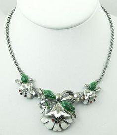 Coro Lotus Flower Necklace - Vintage Jewelry