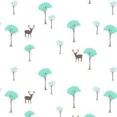 Trees and deer turquoise  fabric by >>mintpeony<< on Spoonflower - custom fabric