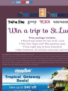 Win a complete trip to St. Lucia!