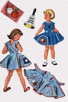 SALE Vintage 50s McCalls 1921 Miss Frances Ding Dong School WRAP Apron Sewing Pattern Size 2., via Etsy.
