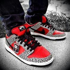 Custom Red cement Nike SB
