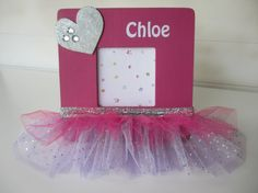 Ballerina Picture Frame, Tuto Photo Frame Personalized, Girl Birthday Gift, Ballerina Decoration, Ballerina Gift, Sparkly Tutu Skirt on Etsy, $24.00