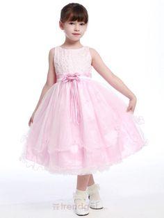 Cute A-line Bateau Tea-length Organza Pink Flower Girl Dresses - $130.99 - Trendget.com #trendget #fashion #wedding #weddings #flowergirldress