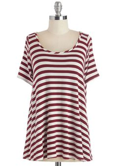 Form and Functions Top in Wine/Cream. Deciding what to wear for casual outings becomes simple when you have this wine-red and ivory striped tee in your wardrobe!  #modcloth